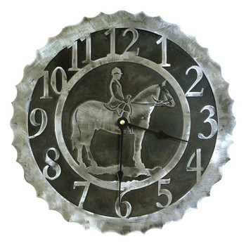 "12"" English Horse Rider Metal Wall Clock"