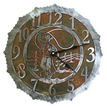 "12"" Cowboy Roper Metal Wall Clock"