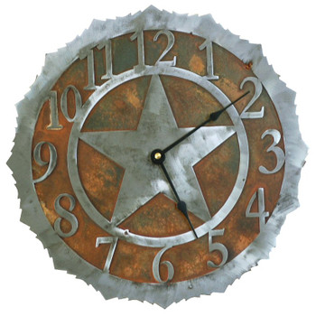 "12"" Texas Star Metal Wall Clock"