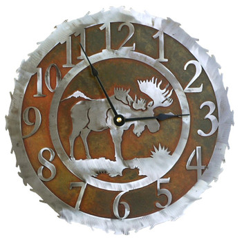 "12"" Moose Metal Wall Clock"