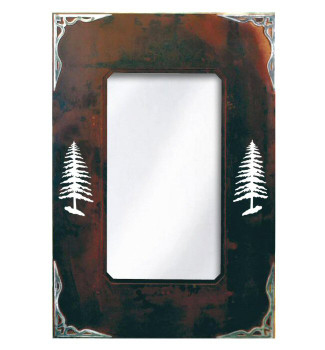 "30"" Pine Trees Metal Wall Mirror"