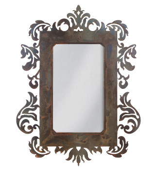"36"" Damask Metal Wall Mirror"