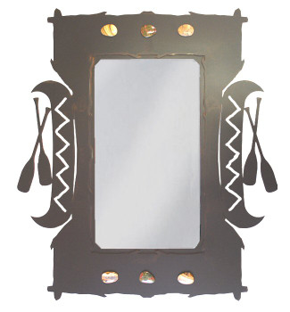 "30"" Canoe and Paddles Metal Wall Mirror with Stones"