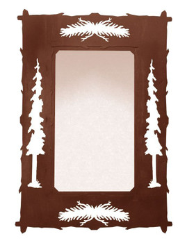 "36"" Pine Cones and Pine Trees Metal Wall Mirror"
