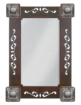 "33"" Tooled Leather Metal Wall Mirror with Conchos"