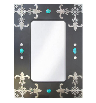 "36"" Fleur De Lis Metal Wall Mirror with Stones"
