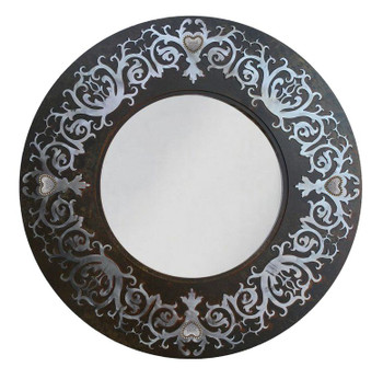 "28"" Round Damask Metal Wall Mirror with Heart Conchos"