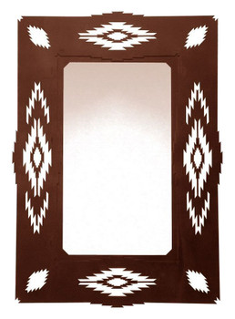 "36"" Southwest Desert Diamond Metal Wall Mirror"