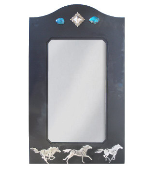 "30"" Running Wild Horses Metal Wall Mirror with Stones"