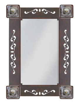 "33"" Texas Star Metal Wall Mirror with Conchos"