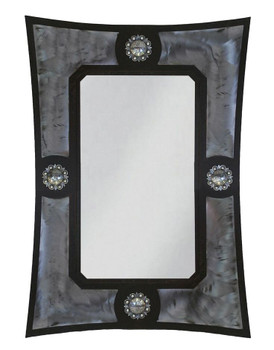 "36"" Ranch Metal Wall Mirror with Conchos"