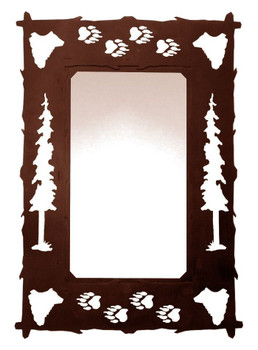 "36"" Bears Pine Trees and Bear Tracks Metal Wall Mirror"