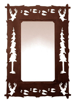 "36"" Deer Pine Trees and Deer Tracks Metal Wall Mirror"