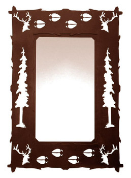 "36"" Elk Pine Trees and Elk Tracks Metal Wall Mirror"