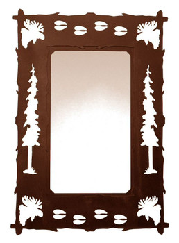 "36"" Moose Pine Trees and Moose Tracks Metal Wall Mirror"
