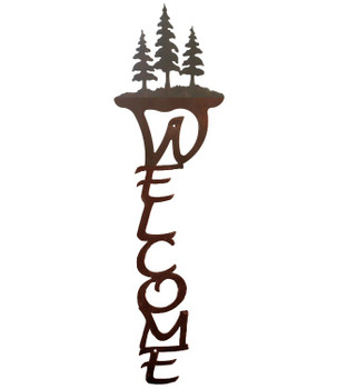 Pine Trees Vertical Metal Welcome Sign