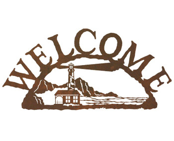 Lighthouse Metal Welcome Sign