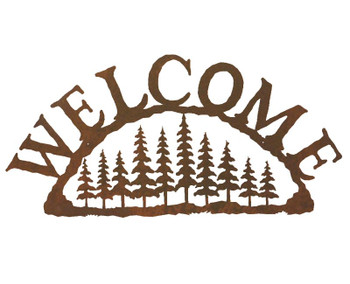 Pine Tree Forest Metal Welcome Sign