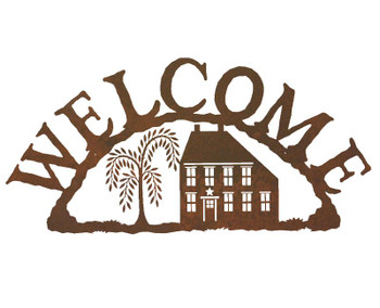 Salt Box House Metal Welcome Sign