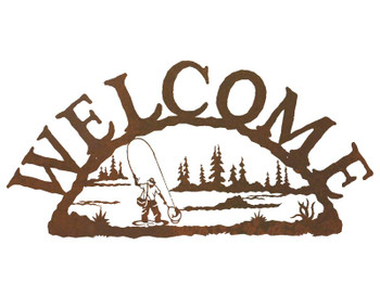 Man Fly Fishing Metal Welcome Sign