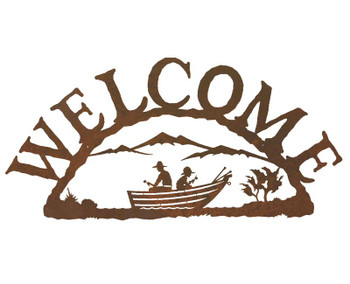Row Boat Metal Welcome Sign
