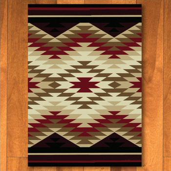 3' x 4' Starburst Red Southwest Rectangle Scatter Rug