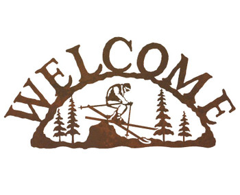 Skier Metal Welcome Sign