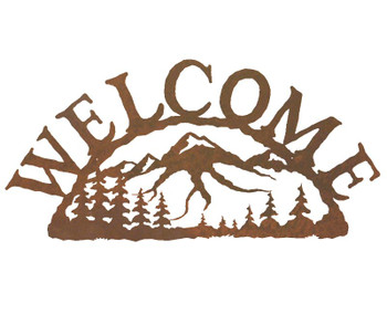 Mountain Scene Metal Welcome Sign