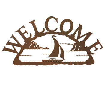 Sail Boat Metal Welcome Sign