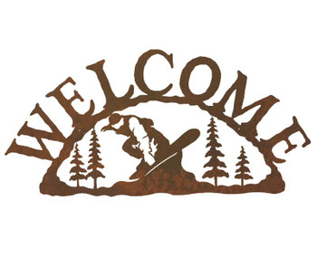 Snowboarder Metal Welcome Sign