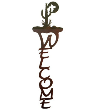 Desert Moon Vertical Metal Welcome Sign