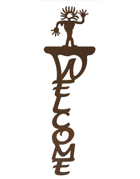 Sun Head Man Vertical Metal Welcome Sign