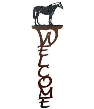 Bay Horse Vertical Metal Welcome Sign