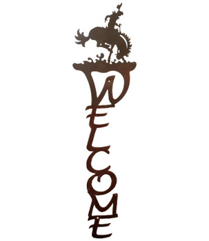 Bucking Bronco Rider Vertical Metal Welcome Sign