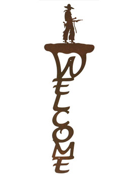Cowboy with Pistol Vertical Metal Welcome Sign