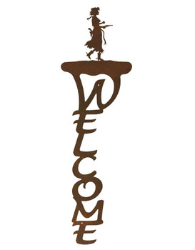 Cowgirl with Pistol Vertical Metal Welcome Sign