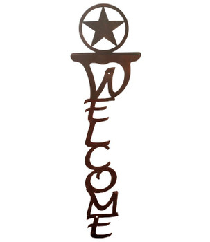 Texas Star Vertical Metal Welcome Sign