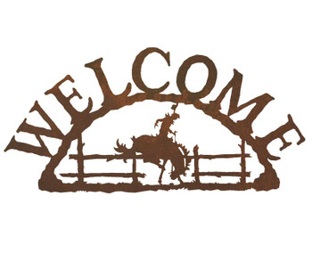 Bucking Bronco Rider Metal Welcome Sign
