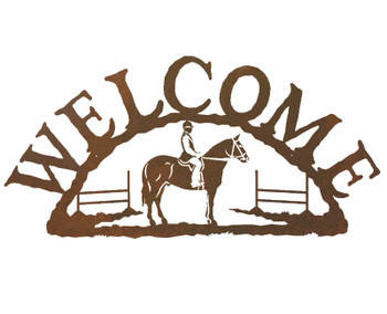 English Horse Rider Metal Welcome Sign