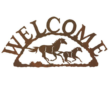 Running Wild Horses Metal Welcome Sign