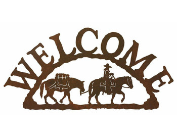 Pack Horse Metal Welcome Sign