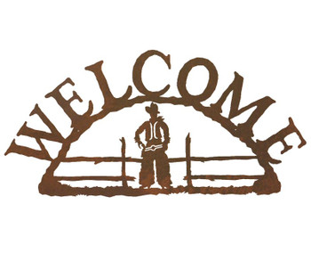 Cowboy Metal Welcome Sign