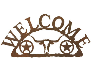 Texas Star with Longhorn Steer Metal Welcome Sign