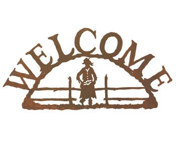 Cowgirl Metal Welcome Sign