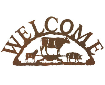 Farm Animals Metal Welcome Sign