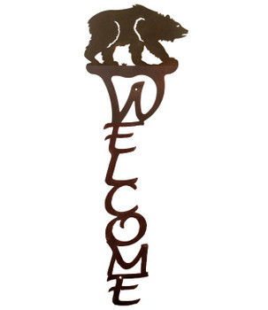 Brown Bear Vertical Metal Welcome Sign