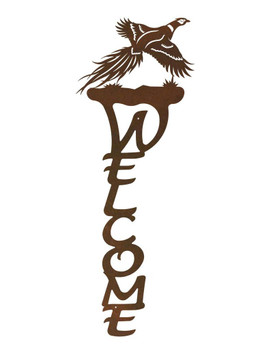 Flying Pheasant Bird Vertical Metal Welcome Sign