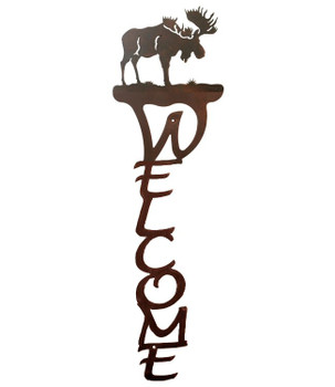 Moose Vertical Metal Welcome Sign