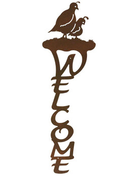 Quail Birds Vertical Metal Welcome Sign