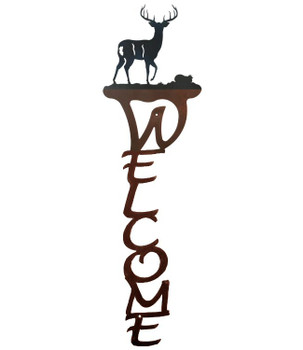 Whitetail Deer Vertical Metal Welcome Sign